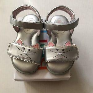 Born toddler girls silver kitty sandals